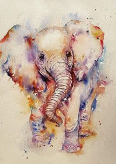 Baby Elephant Animal art Watercolor painting Cute Elephant #watercolorarts