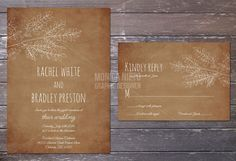 Printable/digital rustic woodland wedding invitation; These would look great printed on our eco-friendly cardstock; a great Etsy collaboration!