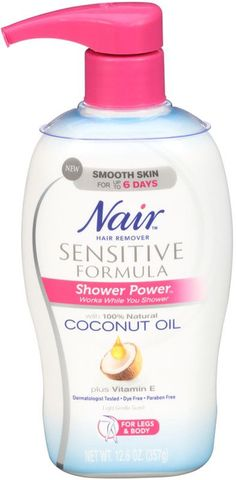 Nair Nair Shower Power Sensitive Formula Hair Removal Cream with Coconut Oil and Vitamin E Chin Hair Removal, Hair Removal Methods, Hair Removal Products, Hair Removal Scrub, Permanent Hair Removal Cream, Cellulite Wrap, Anti Cellulite, Cellulite Exercises, Thigh Cellulite