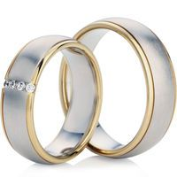 Matching set of bi-colour wedding rings WDP-6049 and WDP-6049-B