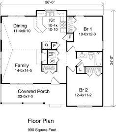 Country Style House Plan - 2 Beds 1 Baths 990 Sq/Ft Plan #22-125 Floor Plan - Main Floor Plan - Houseplans.com