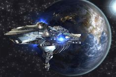 Spaceship fleet leaving Earth as a concept for futuristic interstellar deep space travel for sci-fi backgrounds. Elements of this image furnished by NASA. Black Knight Satellite, Space Documentaries, Mars, Cosmos, Revolution, Sci Fi Background, La Colonisation, Warp Drive, Android