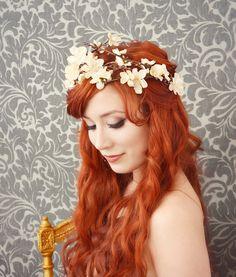 floral tiara, cream flower crown, bridal hair wreath, wedding accessory - arthurienne