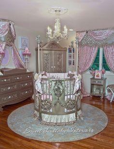 Custom designed nurseries by Cheryl of Sweet Lullaby 201-485-7571. Custom round crib by villa Bella, furniture Bratt Decor