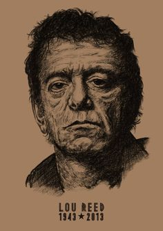 Lou Reed: A3 -Print - Hand Drawn Portrait signed by Artist - (Black on Sepia Card or Sepia on Cartridge Paper) #PencilPortrait #Portrait #icons #HandDrawnPortrait #BillTaylorBeales #LouReed #CommissionedArt #Art #Portrait #Drawn