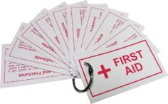 Teach your Girl Scouts about basic first aid with our first aid cards. The clip makes this first aid booklet easy to carry around. Blisters, bee stings, nose bleeds, sprains and more. Available at MakingFriends.com