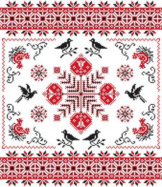Flower Cross Stitch Pattern Red and Black Sampler Blackbirds Chickens PDF