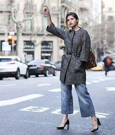 culotte denim jeans w. heels + boucle coat