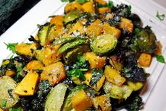 Parmesan Roasted Brussels, Butternut Squash, and Kale | From the Little Yellow Kitchen