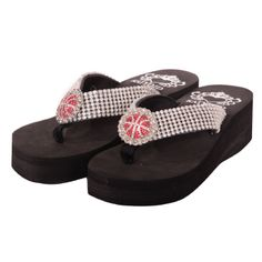 Katydid RHINESTONE BASKETBALL Wedge Flip Flops			  			  						  			  				Popular Wedge Style Basketball Bling Flip Flops designed by Katydid!  These are top quality, fashionable sports designed flip flops!  Crystal Rhinestones, Thick Straps and a Rubber Sole.  These flip flops are very comfortable!  2.25″ heel