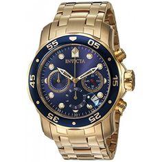 3d3511f923b Relógio masculino Invicta 0073 Pro Diver Banhado a ouro 18 k fundo azul