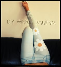 Refashion old jeans with painted designs.
