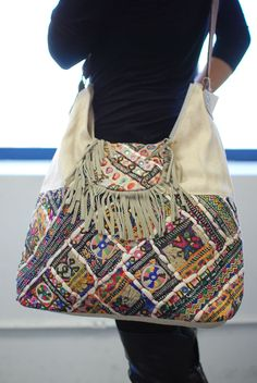 Bohemian Hand Made Embroidery Deco Canvas Suede Fringe Messenger Bag