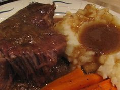 Crockpot sauerbraten 3-5 lbs pot roast 1 C beef broth 2 T flour 2 bay leaves 1 onion, cut-up 1/2 C brown sugar 1/2 C cider vinegar 1/2 t allspice 1/2 t ginger 1/2 t salt 1/2 t pepper Add the cut up onion to the crock pot. Place the meat on top. Sprinkle with flour and rub in, season as desired with  salt & pepper. Combine the beef broth, vinegar, brown sugar, allspice,  and ginger. Pour over roast. Add bay leaves. Cover and cook on low for about 8 hours until tender.