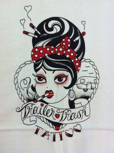 Tee from Mimsy's Trailer Trash Tattoo, old-skool tattoo artist extraordinaire, in a medium.   It has a screen printed Trailer Trash girl.    Please note: These tee's are in men's sizing