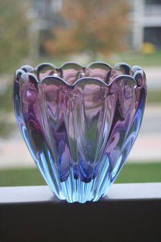 1950s RARE Alfredo BARBINI Murano Art Glass Italy SCULPTURAL CONSOLE Vase Blue in Pottery & Glass, Glass, Art Glass | eBay