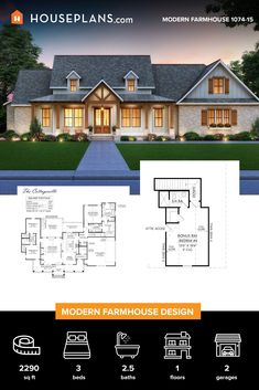 This modern farmhouse plan would work great for a growing family with a welcoming front porch and open floor plan. Family House Plans, Barn House Plans, Craftsman House Plans, Country House Plans, New House Plans, Dream House Plans, Farmhouse Floor Plans, Modern Farmhouse Exterior, Beautiful House Plans