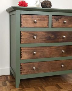 Rustic Green and Wood Chest of Drawers. Hand Painted Green and natural wood tall drawers Rustic Green and Wood Chest of Drawers. Hand Painted Green and image 4 green chest of drawers Green Painted Furniture, Refurbished Furniture, Paint Furniture, Repurposed Furniture, Furniture Projects, Rustic Furniture, Funky Furniture, Furniture Design, Furniture Chairs