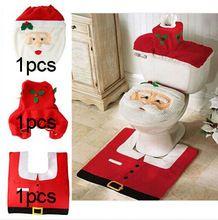 2.015 Hot 1Lot Efektné Santa Cover WC sedátko a koberček Kúpeľňa Set Contour Rug Vianočné ozdoby na Natal Navidad Decoracion (Čína (pevninská časť))