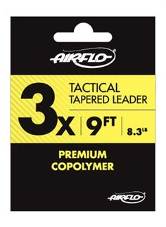 NEW for 2016! AIRFLO Tapered Leaders include lengths from 7.5 ft to 15 ft in fluorocarbon and premium nylon. Prompt Shipping, and NO Sales tax  Airflo offers a full selection of tapered leaders from 7X to 20 Lb. tippet strengths.    Airflo tapered leaders have perfection loops for easy attachment to your fly line.  Three pack option available in the 9 ft Mono tapered leader.     Whether you fish nylon mono or fluorocarbon you will find a tapered leader option to your liking here.