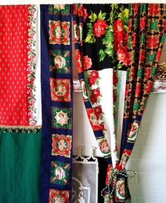 Handmade Boho Curtains Christmas Wall Decor Bohemian chic holiday Patchwork Angels Roses Red Bedroom Hippie Hippy Window Treatment Drapes - Free Shipping Product Description: CUSTOM Boho Curtains One