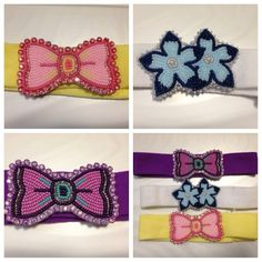 Pink & purple available. Infant/toddler headbands. $22 each. Www.etsy.com/shop/livmariebeads #beaded #headbands #clothheadbands #livmariebeads