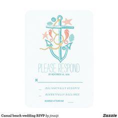 Casual beach wedding RSVP Card