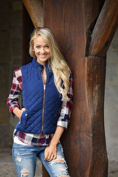 Quilted Vest ~ Navy – The Pulse Boutique
