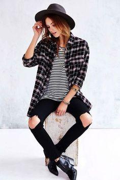 blue/white striped shirt, black knee rip jeans, black booties, plaid shirt, black hat