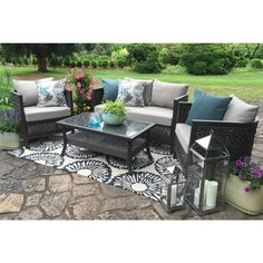 AE Outdoor Carlsbad 4-Piece All-Weather Wicker Patio Deep Seating Set with Sunbrella Fabric-DPS101120 - The Home Depot