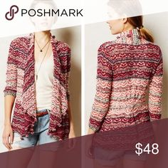 """Anthropologie Moth Kasimira Cardigan This is so beautiful in person! It's lightweight, but substantial. It's roomy and looks great layered. Slightly oversized. Zoom in on the sweet tassels and gorgeous crochet work. This cardigan is in excellent condition. Only sign of wear is the care tag (removed for comfort). Shorter in back (Approx 30""""L, longer in front/sides and back is 26"""" L). It's so colorful and fun, make this yours! 💕 Anthropologie Sweaters Cardigans"""