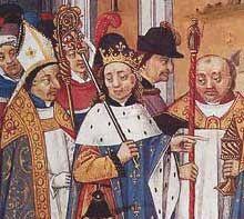 Louis II le Bègue - Grandes Chroniques de France - Bibliothèque Nationale Paris- 5) LOUIS II LE BEGUE: Le 8 décembre 877, il est couronné et sacré par l'archevêque HINCMAR DE REIMS dans la chapelle palatine de l'abbaye ST-CORNEILLE DE COMPIEGNE. Son autorité va cependant être très faible.