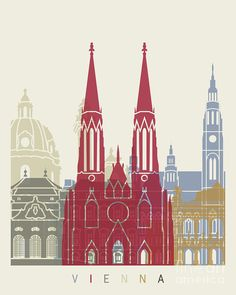 Vienna Painting - Vienna Skyline Poster by Pablo Romero