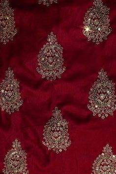 Royal Pink Velvet Fabric Material with Sequins Work - FB3387