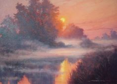 Sunset sur le Lignerou part III Throughout The World, Impressionist, Graham, Fine Art, Sunset, Landscape, Gallery, Artist, Painting