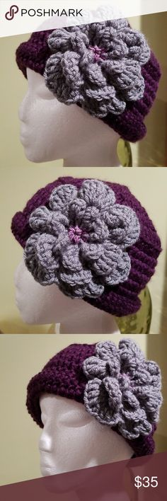 New handmade hat Purple hat with gray large flower. Accessories Hats