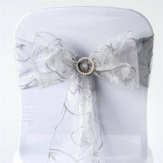 x Silver Leaf-Motif Embroidered Chair Sash Wedding Chair Sashes, Wedding Chairs, Wedding Seating, Silver Wedding Decorations, Spandex Chair Covers, Floral Tablecloth, Winter Wonderland Wedding, Event Decor, Wedding Ideas