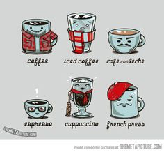 The many types of coffee…