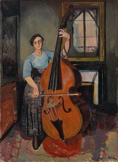 Woman with a Double Bass, 1908, Suzanne Valadon. French Post-Impressionist Painter (1865 - 1938)