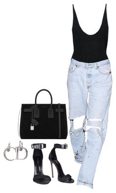 """""""Untitled #163"""" by naylarizkalla ❤ liked on Polyvore featuring Dsquared2, Yves Saint Laurent and vintage"""