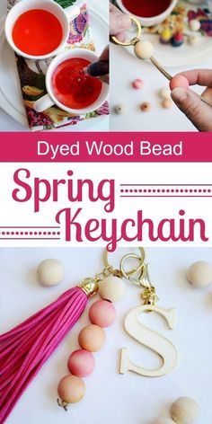 Learn how to easily dye wood beads for an awesome Spring keychain Crafts For Girls, Hobbies And Crafts, Crafts To Make, Wood Bead Garland, Beaded Garland, Art And Craft Videos, Diy Keychain, Keychain Ideas, Arts And Crafts Movement