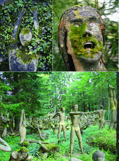 garden in finland. veijo ronkkonen made close to 500 cement sculptures and are all displayed in his yard.