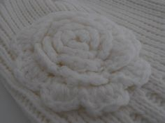 Flower Crochet Ribbed Beanie Hat Womens and by AngelinaAccessories, $18.99