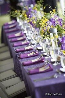Purple and yellow table