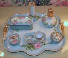 Vanity Dresser Set China Hand Painted Tray Plus 3 Accessory Pieces All Is Pinterest Sets Trays And