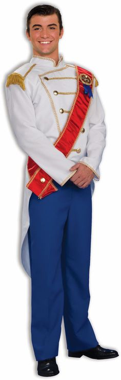 Charming Prince Adult Costume Includes tail coat, sash and pants. Does not include shoes. Weight (lbs) 1.57 Length (inches) 16 Width (inches) 11 Height(inches) 2.25