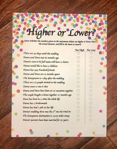 Higher or Lower is a Bridal Shower game to test the guests knowledge on the couple. This is a game that can be customized to each individual couple and their unique story. You can chose from 3 differe Simple Bridal Shower, Fun Bridal Shower Games, Bridal Shower Planning, Bridal Shower Party, Bridal Games, Bridal Showers, Lingerie Shower Games, Bridal Shower Prizes, Wedding Planning