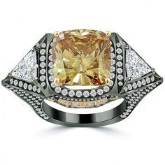 12.68 Carat Fancy Cognac Brown Cushion Cut Diamond Engagement Ring 18k Black Gold - Mocha Diamond Rings - Color Rings