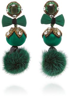 Ranjana Khan Green Fur Pom Earrings