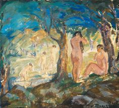 Jalmari Ruokokoski (Finnish, 1886-1936), BATHERS, 1917. Oil on canvas, 55 x 60 cm
